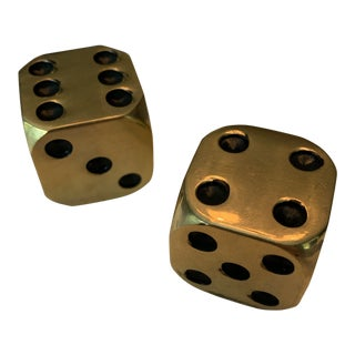 Vintage Mid Century Brass Dice For Sale