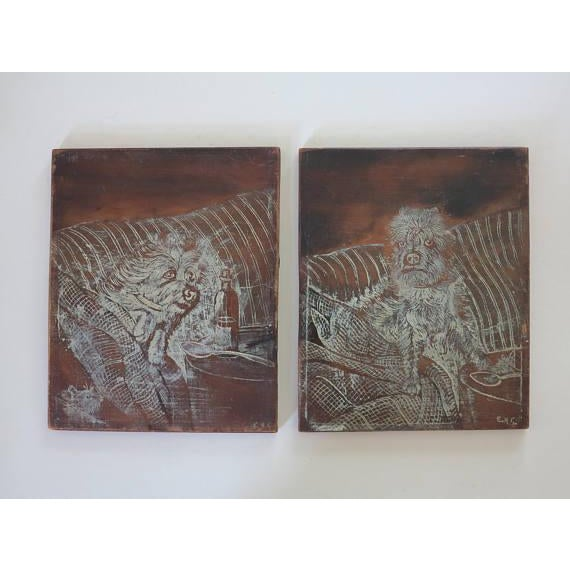 An amazing and quite rare pair of 19th century english etchings on charred wood after some quite famous paintings by...