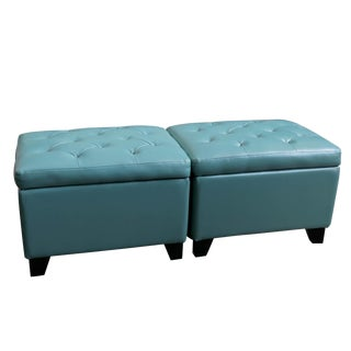 Turquoise Storage Ottoman, Each For Sale