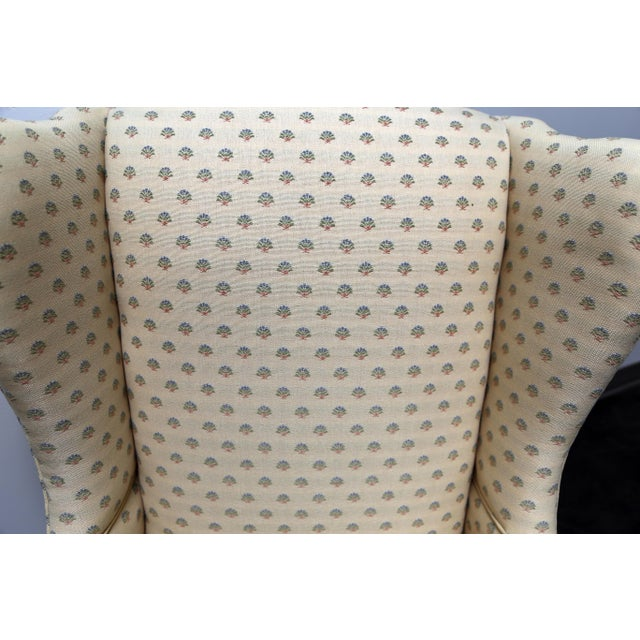 Fabric Chippendale Style Mahogany Wing Back Chairs by Conover Chair Co - Pair For Sale - Image 7 of 11