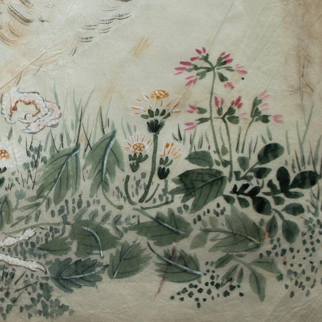 Late 19th Century Meiji Era Large Japanese Roosters Watercolor Painting For Sale - Image 9 of 13