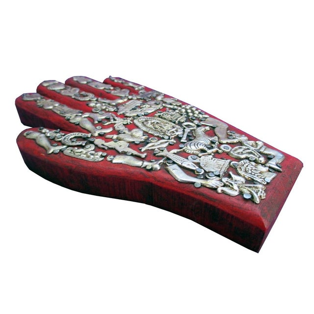 Mexican Folk Art Red Wooden Hand - Image 4 of 4