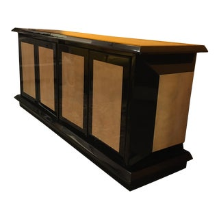 Vintage Black Lacquer and Parchment Inlay Four Door Console / Credenza For Sale