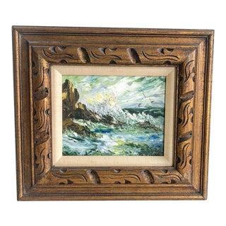 Mid Century Original Sea Crashing on Rocks Oil Painting For Sale