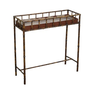 Faux Bamboo Metal Planter Console For Sale