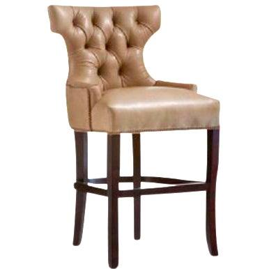 O. Henry House Tufted Leather Barstool - Image 1 of 4
