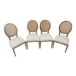 French Country Oak Dining Chairs - Set of 4