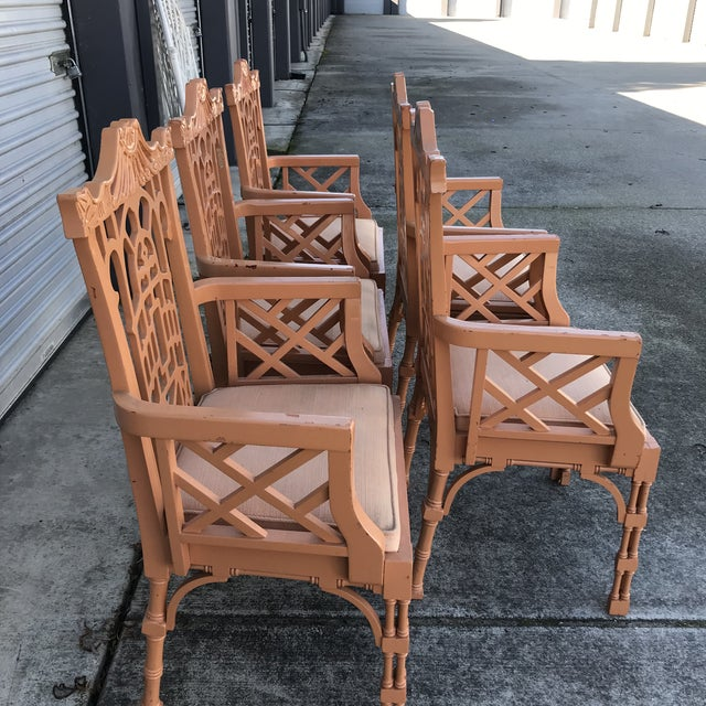 Vintage Fretwork Chinese Chippendale Dining Chairs - Set of 5 For Sale - Image 11 of 13