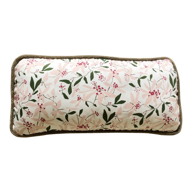 """Custom Bolster Pillow of Block and Brayer """"Mountain Laurel"""" With Wooly Fringe For Sale"""