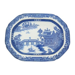 18th-C. English Willow Meat Platter, C. 1780 For Sale