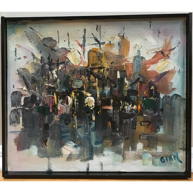 Vintage Mid Century Modern Abstract Expressionist Oil Painting For Sale - Image 11 of 11