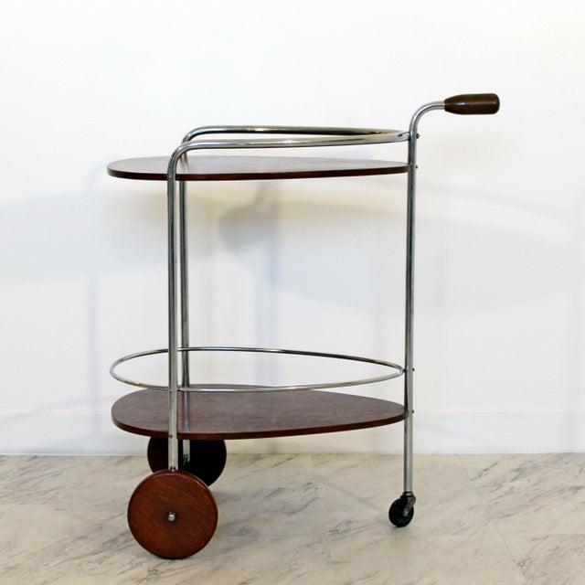 Art Deco Modern Chrome & Wood 2-Tier Bar Serving Server Cart Treitel Gratz 1940s For Sale - Image 12 of 12