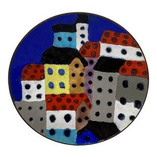 Diminutive Cloisonné Abstract European City Plate For Sale