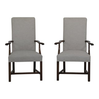 1990s Vintage Chippendale Style Mahogany Upholstered Arm Chairs- A Pair For Sale