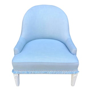 Hollywood Regency Designer Low Bergere Chair For Sale