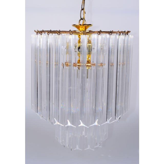 Vintage 5 Light Brass and Lucite Chandelier with Canopy For Sale - Image 4 of 10
