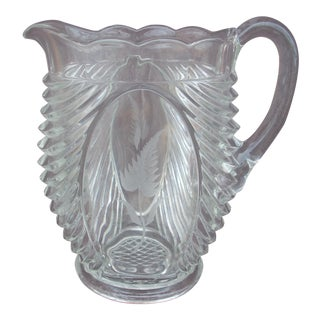 Pressed Clear Glass Pitcher