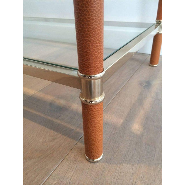 Gilt Brass and Leather Coffee Table by Lancel - Image 6 of 11