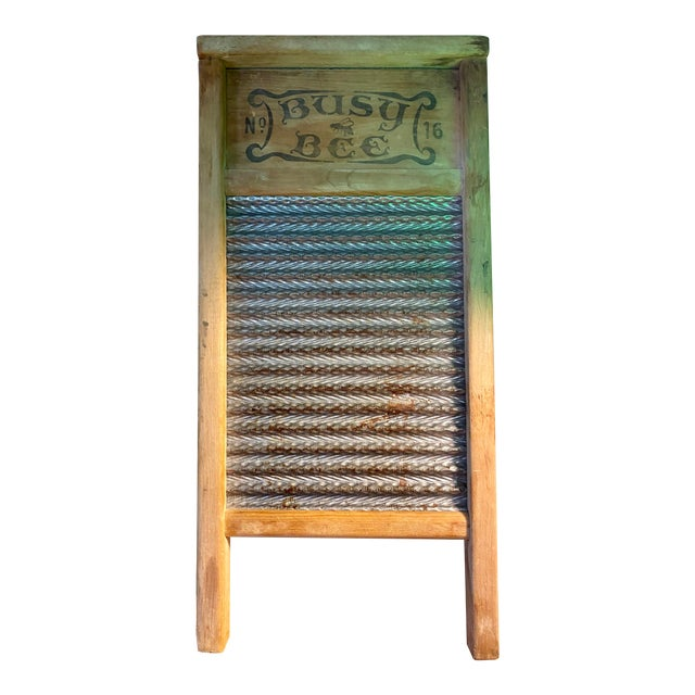 1930s Vintage Busy Bee No. 16 Wood & Metal Lingerie Washboard For Sale