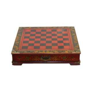 Chinese Handmade Red Vinyl Chessboard W Oriental Style Chess For Sale