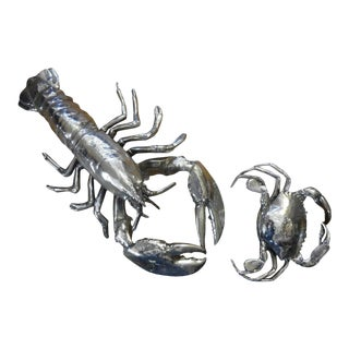 Vintage Italian Silver Plated Lobster and Crab For Sale