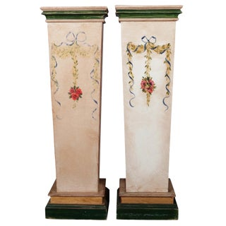 Pair of French Provincial Hand-Painted Sculpture Display Pedestals, 20th Century For Sale