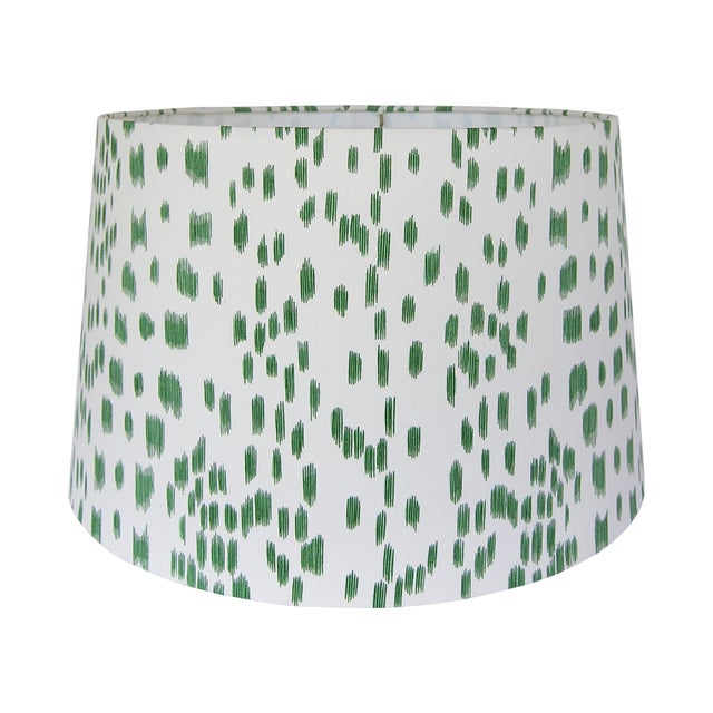 DETAILS: - New, handcrafted lampshade - Fabric: Brunschwig & Fils Les Touches in Green, a 100% cotton fabric with an...