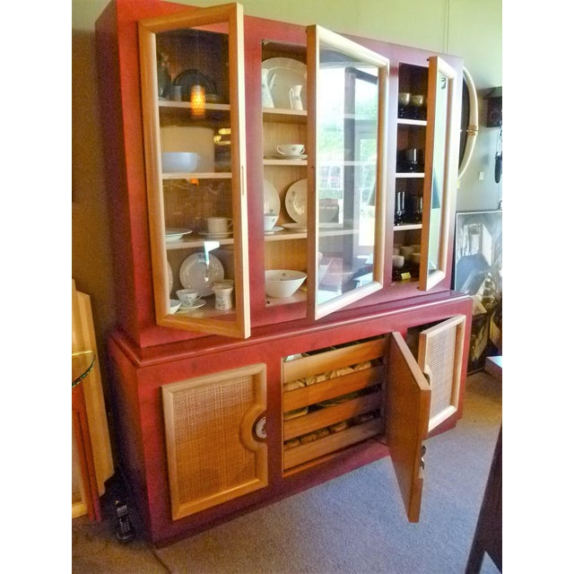 1940s 1940s Antique Paul Laszlo Style Faux Red Leather Finished Buffet / Breakfront For Sale - Image 5 of 13
