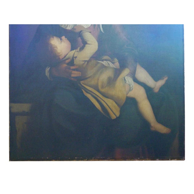 """Realism """"Madonna & Child"""" 19th Century Copyist Oil Painting After Orazio Gentileschi For Sale - Image 3 of 13"""