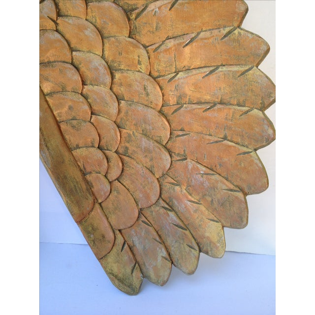 Large Gold Carved Wood Wings - Pair - Image 3 of 6