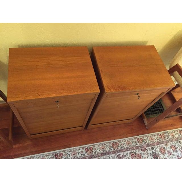 Brown Danish Modern Teak Tambour Doors Filing Cabinets - A Pair For Sale - Image 8 of 10