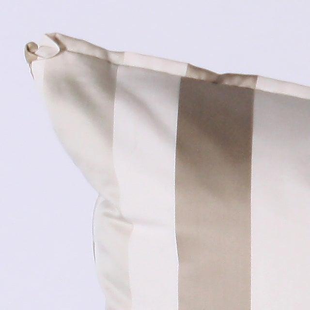 Pair of pillows upholstered in Jan Showers for Kravet Jan's Stripe Opal fabric