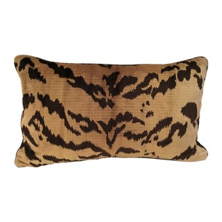 Luigi Bevilacqua Fabric Silk Velvet Tiger Pillow For Sale