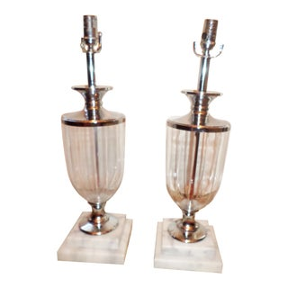 Mid 20th Century Crystal Lamps on Marble Bases - a Pair For Sale