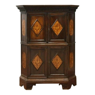Early 20th Century Italian Baroque Marquetry Inlaid Corner Cabinet For Sale