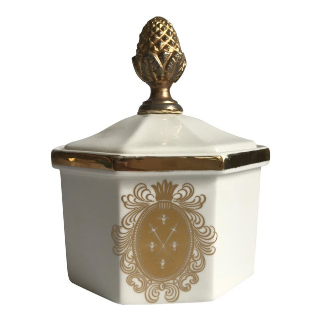 Vintage Bowl With Gold Acorn Finial Cover - Image 1 of 7