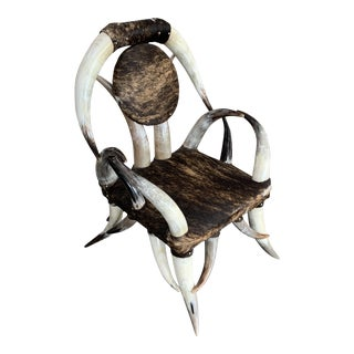 Vintage Mid Century Western Steer Horn Chair For Sale