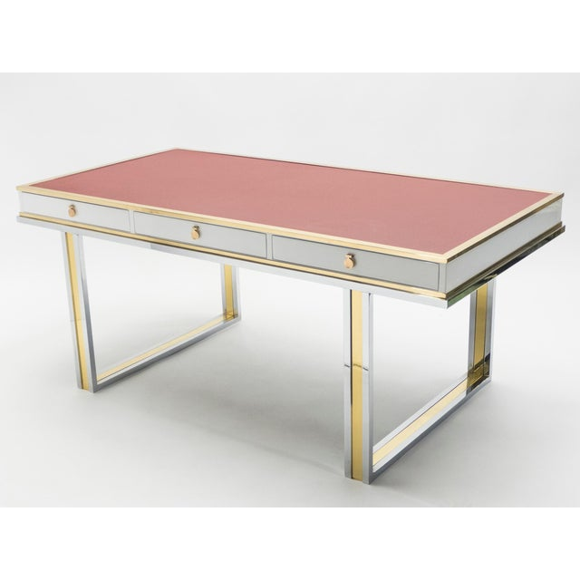 Unique French Desk White Lacquer Brass Red Leather by Atelier La Boetie, 1974 For Sale - Image 12 of 13