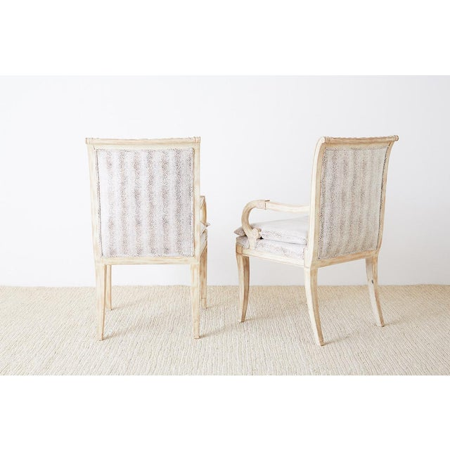 Pair of Neoclassical Regency Style Armchairs or Library Chairs For Sale - Image 11 of 13