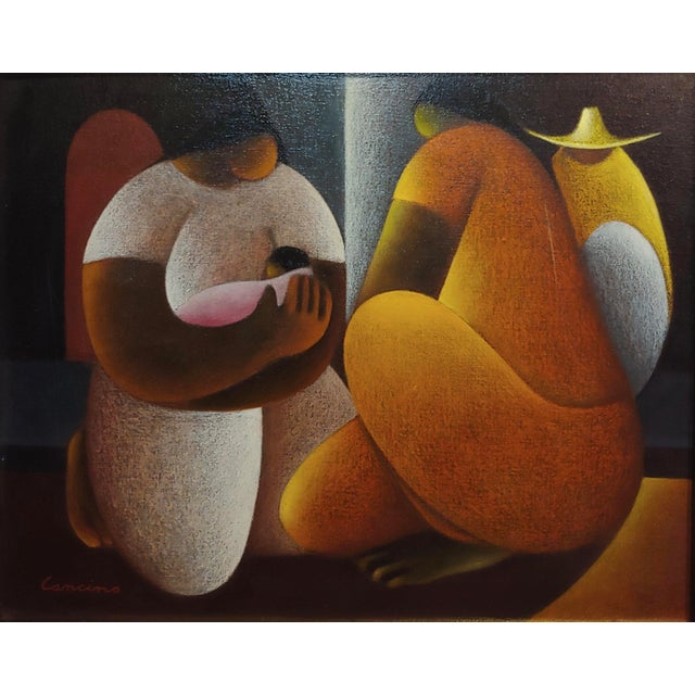 1960s Victor Manuel Cancino -Family With Child-Mexican Cubist-Oil Painting For Sale - Image 5 of 9