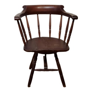 1840s American Late Windsor Revolving Armchair For Sale