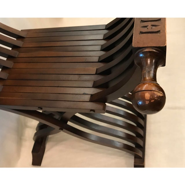 20th Century Italian Savonarola X-Form Carved Wooden Chair For Sale - Image 9 of 13