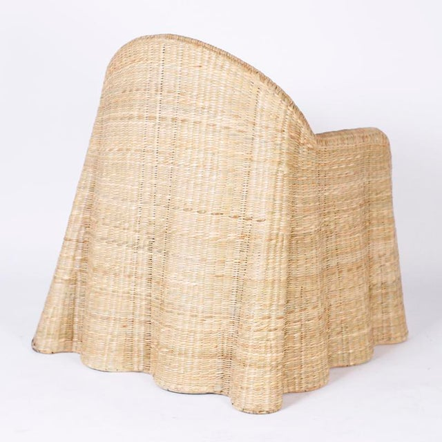 Early 21st Century Wicker Drapery Ghost Arm Chairs - a Pair For Sale - Image 5 of 11