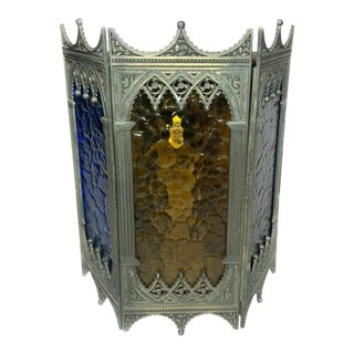 1960s Vintage Gothic Revival Victorian Tri-Color Stained Glass Brass Wall Sconce For Sale