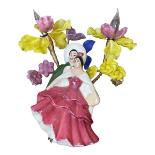 Mid-Century Modern Ceramic Flamenco Dancer Table Lamp With Floral Details For Sale