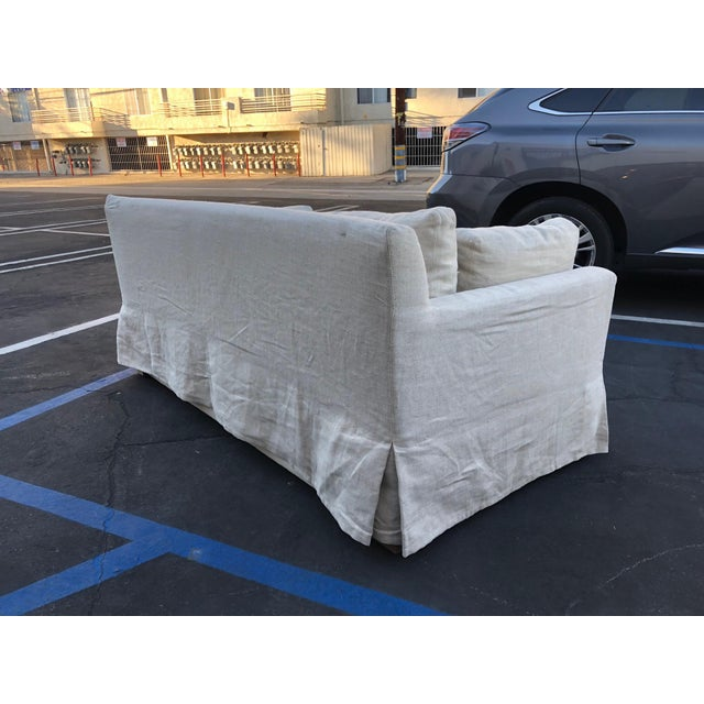 Restoration Hardware Restoration Hardware Belgian Track Arm Classic Slipcover 6' Sofa For Sale - Image 4 of 8