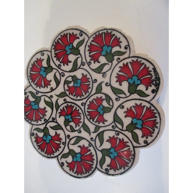 Turkish Vintage Set of Four (4) Red and Green Carnations Turkish Ceramic Coasters For Sale - Image 3 of 6