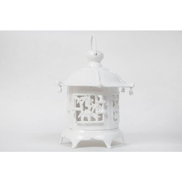 1960s Trio of White Lacquer Cast Iron Pagodas - Set of 3 For Sale - Image 4 of 7