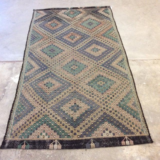 "1960's Turkish Sumac Kilim - 6'x11'6"" For Sale - Image 13 of 13"