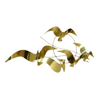 Curtis Jere Birds in Flight Brass Wall Art Sculpture